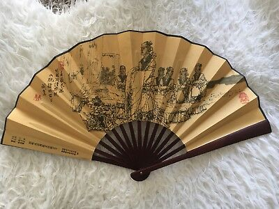 Chinese Fine Art Painting Bamboo Folding Hand Fan Flowers Design Painting