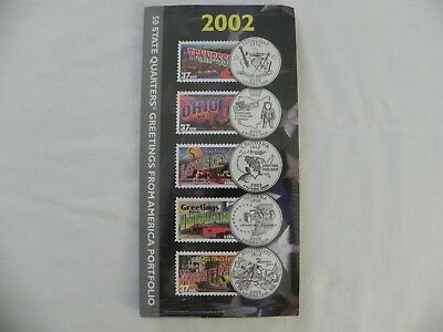 NEW 2002 50 State Quarters Greetings from America Stamps Portfolio US Mint USPS