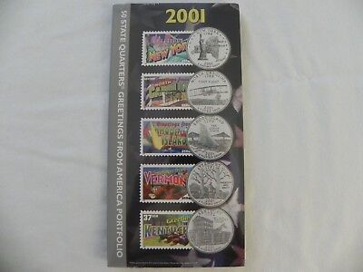 NEW 2001 50 State Quarters Greetings from America Stamps Portfolio US Mint USPS