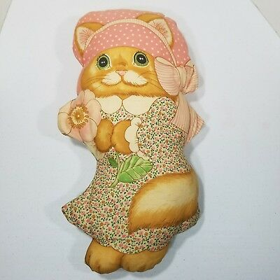Vtg Kitty Cat Shaped Handmade Accent Pillow Doll with Bonnet Pink Floral