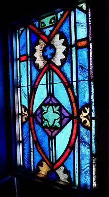 Antique Vtg Church Stained Glass Window Architectural Salvage Cross A5