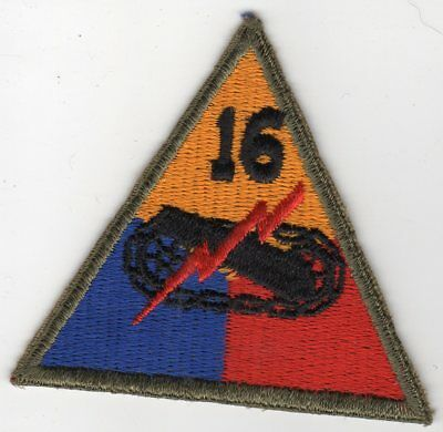 World War II US Army 16th ARMORED Division Patch