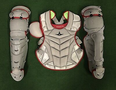 All Star System 7 AXIS Adult 16+ Catchers Gear Custom MLB - Silver / Red
