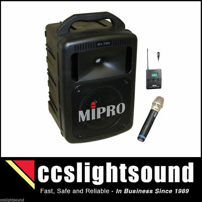 MIPRO MA708-CDLH AC/DC PORTABLE BATTERY PA SYSTEM WITH CD AND 2 x WIRELESS MICS