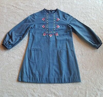 Vintage Girls Blue Denim Peasant Boho Emboidered Dress Childrens Clothes Gypsy