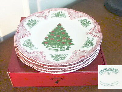 Johnson Bros OLD BRITAIN CASTLES Christmas Salad Luncheon Plates SET/4 -NEW/BOX!