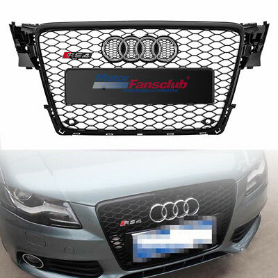 Audi A4 S4 B8 09-12 RS Style Front Hood Shiny Black Mesh Henycomb Sport Grille