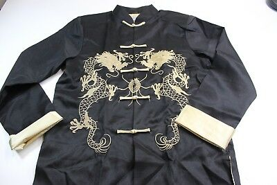 Lao Gudai Satin Gold Stitched Asian Knot Jacket Large L Fitted