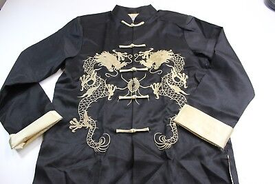 Laogudai Satin Gold Stitched Asian Knot Jacket Large L Fitted