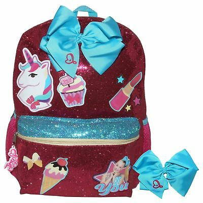 "Jojo Siwa Be You Glitter Unicorn Bow 16"" Backpack With Matching Blue Bow To Wear"