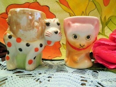 Vintage Egg Cups X2 Dogs Puppy Japan Childs Easter Egg Cup Novelty 1950's