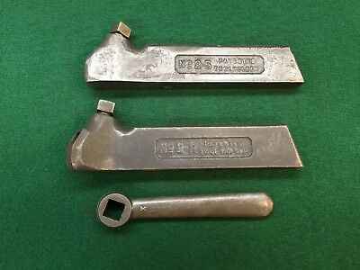 Pair of Armstrong Lathe Tool Bit Holders w/wrench-(1) Straight (1) Right Angle