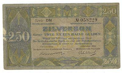 1918 Netherlands 2 1/2 Gulden Zilverbon Currency Note - (GG-114)