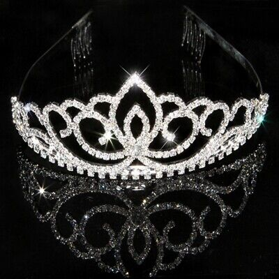 1 x Austrian Princess Wedding Bridal Crystal Hair Tiara Crown Veil Headband New