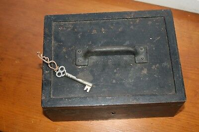 Vintage Steel Strongbox With Key 1800's Stagecoach
