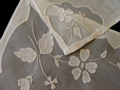 PRISTINE FAB 12pc Vtg MADEIRA White Linen Organdy Placemats Unused LAUNDERED