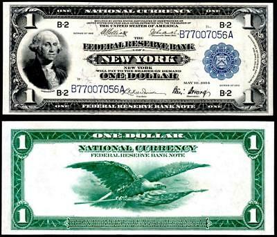 1918 $1~Large Size~National Currency Note New York~Crisp Almost Uncirculated