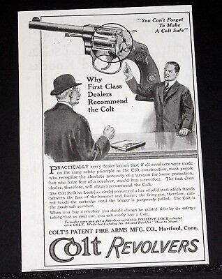 1914 Old Magazine Print Ad, Colt Revolvers, First Class Dealers Recommend Colt!