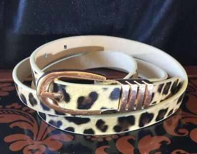 Retro 80s Rockabilly Glam Vinyl rose gold buckle Animal Print Skinny Belt M