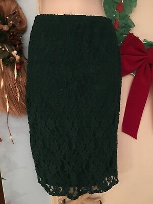 9be905a3e Junior's Xhilaration Lined Forest Green Lace Knee Length Pencil Skirt in  Small