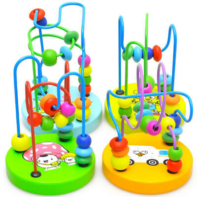 Educationl Baby Kids Wooden Around Beads Toy Toddler Infant Intelligence Toys