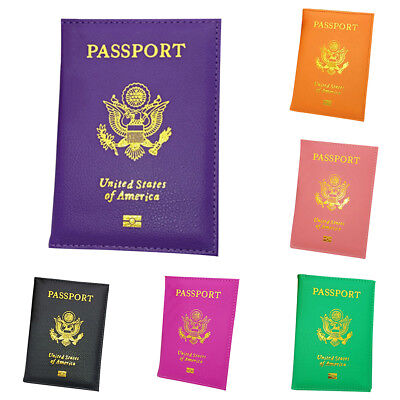 Passport Case ID Card Holder Cover Organizer Dazzling Faux Leather Travel US
