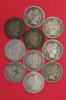 Lot of 10 Barber Liberty Dimes Exact Coins Pictured Flat Rate Shipping OCE178