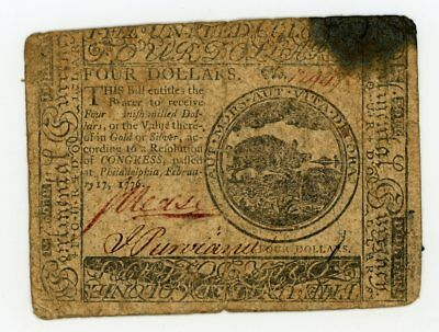 (CC-26) February 17, 1776 $4 Continental Currency Note - NO RESERVE!