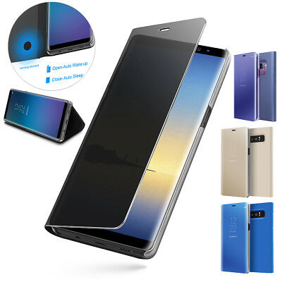 Samsung Galaxy Note 9 S9+ S8+ CLEAR VIEW Mirror Flip Stand Case Auto Wake Cover