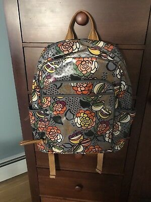 New Fossil Key-Per Back Pack  Floral  Zb5994  Coated Cotton Canvas