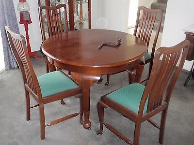 +antique extension table with 4 chairs
