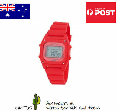 Cactus Watches for Kids Digital Face with Red Silicone Band