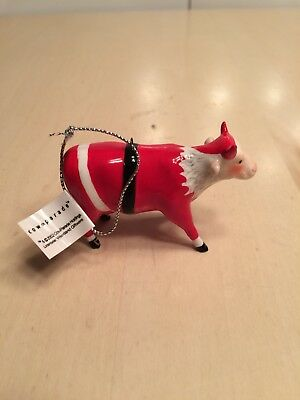 COW PARADE Christmas Ornament SANTA COW #7090 2002 NIB Hard to find