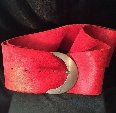 Retro Gypsy Boho Sexy Burnt red Soft Italian suede Silver Buckle Wide Belt
