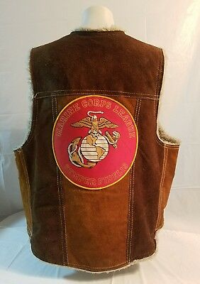 Mens leather sherpa-lined vest size 46 MARINE CORPS LEAGUE PATCH VINTAGE #23