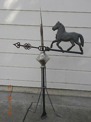 Antique Lightning Rod with Trotting Horse directional arrow