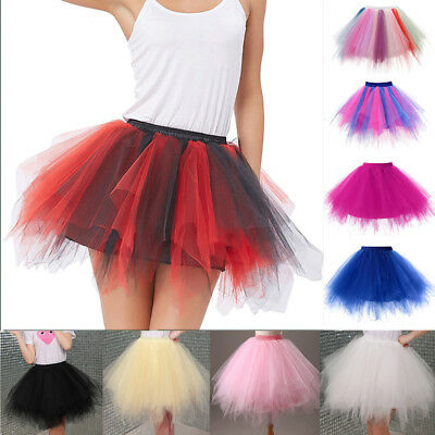 Women Girls 4 layer Tulle Skirt Skirts Adult Tutu Ball Gown Princess Mini Dress