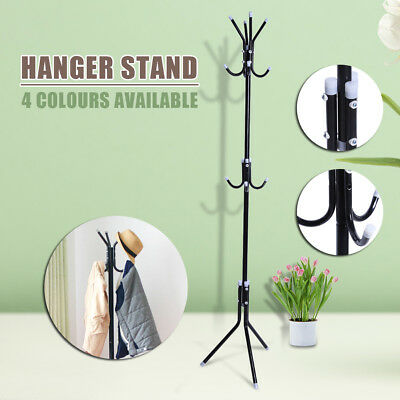 12 Hook Coat Hanger Stand 3-Tier Hat Clothes Metal Rack Tree Style Storage