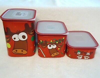 Tupperware Reindeer Canisters Set Of 3 New