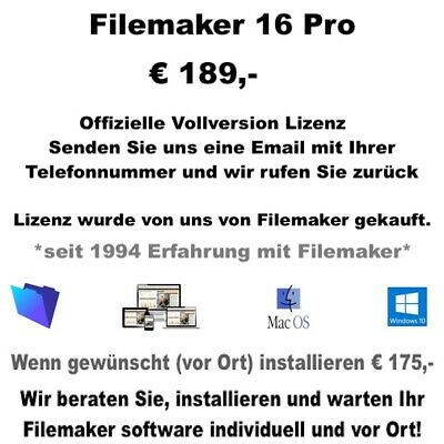 Filemaker pro 16, Unbefristet Volllizenz Win/Mac Deutsch/Englisch/multi language