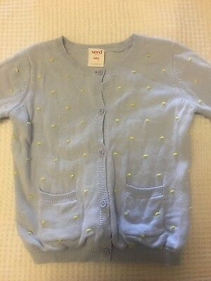 Baby Girl Twins SEED HERITAGE Pastel Blue & Yellow Knit Cardigan - VGUC - Size 0