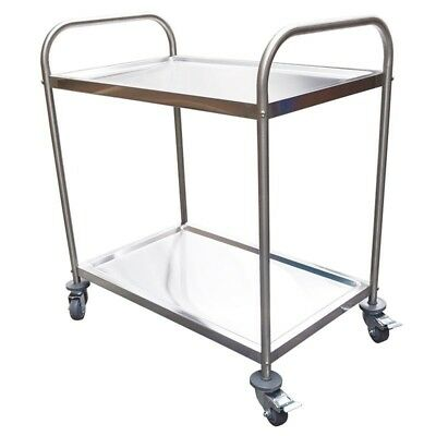 NEW Stainless Trolley, 2-Tier With Castors, H800xL825xD530mm Adelaide