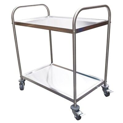 NEW Stainless Trolley, 2-Tier With Castors, H800xL825xD530mm Brisbane