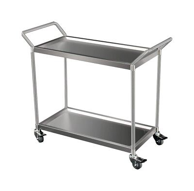 Heavy Duty Stainless Trolley, 2-Tier with Castors Brisbane