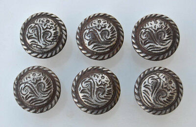 6p Vintage Eastlake Cast Iron cabinet drawer door Knobs handles pull rustic 1.4""