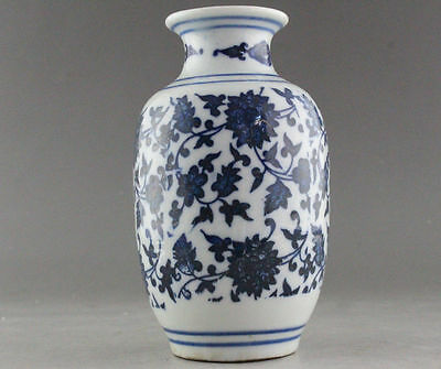 Rare Blue And White Porcelain Flower Vase Of Chinese Antique-