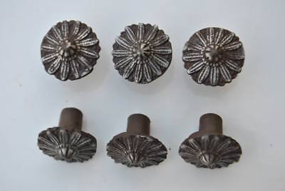 6pcs Vintage Floral Cast Iron cabinet drawer door Knobs handles pull rustic 1.3""
