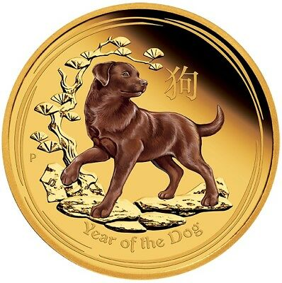 2018 Lunar Series - Year of the Dog - 1 oz Coloured Gold Proof Coin Perth Mint