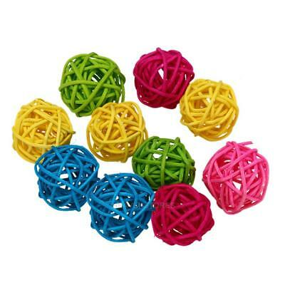 10pcs Parrot Rattan Ball Toys Bird Chewing Birdcage Swing Cage Pet Supplies Deco