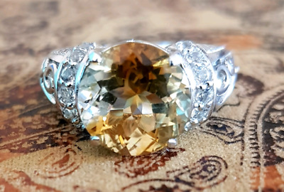 Citrine & White Sapphire Gemstone Ring, Size 9 US, Silver, NEW